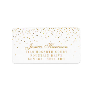 The Vintage Glam Gold Confetti Wedding Collection Label at Zazzle