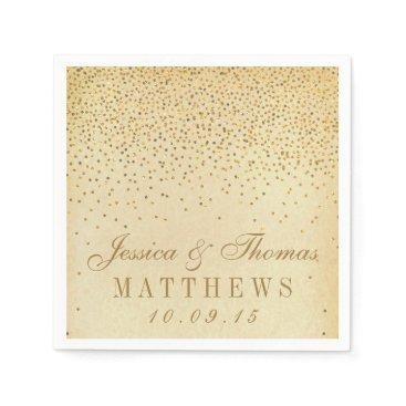 invitation_republic The Vintage Glam Gold Confetti Wedding Collection Paper Napkin