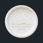 "The Vintage Glam Gold Confetti Wedding Collection Paper Plate<br><div class=""desc"">The Vintage Glam Gold Confetti Wedding Collection. These paper plates can be personalized for your special occasion and would make the perfect item for any wedding, bridal shower, engagement party, birthday party and much, much more. *Please note that Zazzle only sells printed products, therefore this item does not include any...</div>"