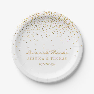 The Vintage Glam Gold Confetti Wedding Collection Paper PlatePaper Plates   Zazzle. Tableware For Weddings. Home Design Ideas