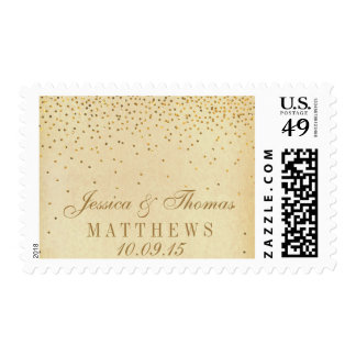 The Vintage Glam Gold Confetti Wedding Collection Postage Stamp