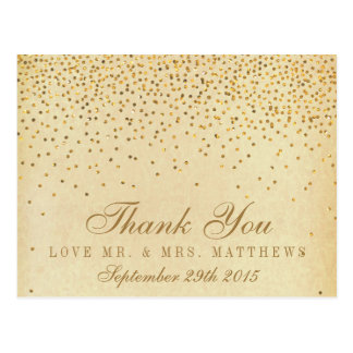The Vintage Glam Gold Confetti Wedding Collection Postcard