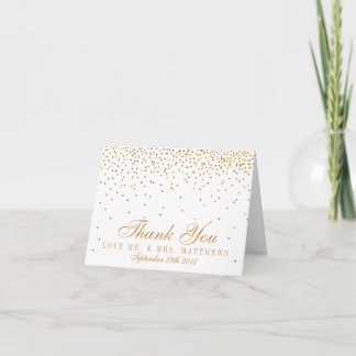 The Vintage Glam Gold Confetti Wedding Collection Thank You Card