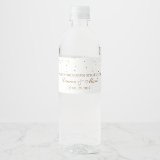 The Vintage Glam Gold Confetti Wedding Collection Water Bottle Label