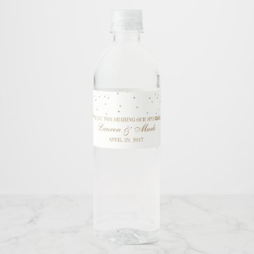 invitation_republic The Vintage Glam Gold Confetti Wedding Collection Water Bottle Label
