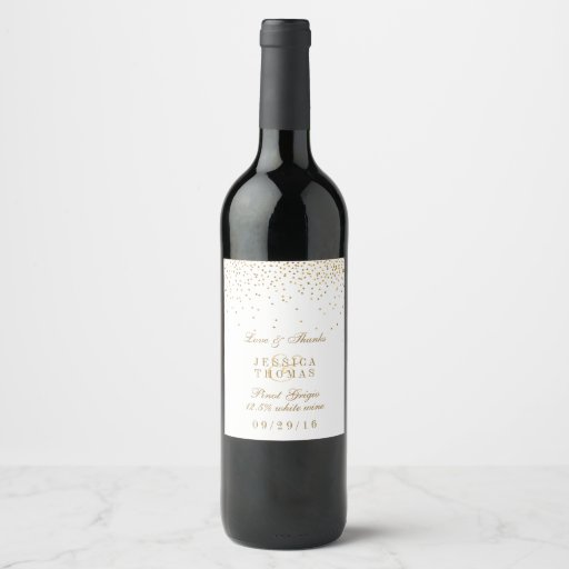 The Vintage Glam Gold Confetti Wedding Collection Wine Label