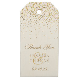 The Vintage Glam Gold Confetti Wedding Collection Wooden Gift Tags
