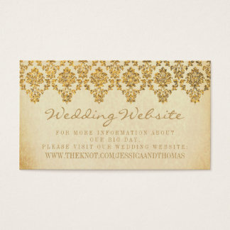 The Vintage Glam Gold Damask Wedding Collection Business Card