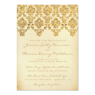 The Vintage Glam Gold Damask Wedding Collection Card