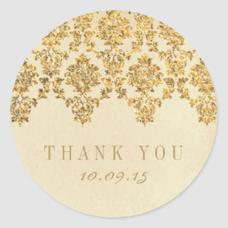 The Vintage Glam Gold Damask Wedding Collection Classic Round Sticker
