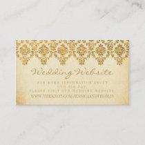 The Vintage Glam Gold Damask Wedding Collection Enclosure Card