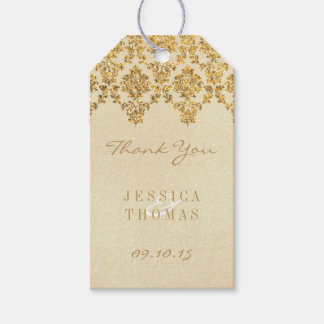 The Vintage Glam Gold Damask Wedding Collection Gift Tags