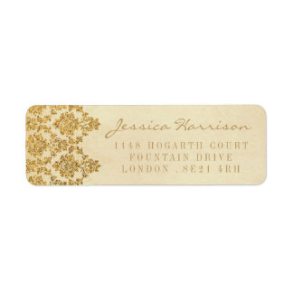 The Vintage Glam Gold Damask Wedding Collection Label