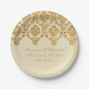 The Vintage Glam Gold Damask Wedding Collection Paper Plate  sc 1 st  Zazzle & Vintage Gold Damask Plates | Zazzle