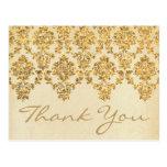 The Vintage Glam Gold Damask Wedding Collection Postcard