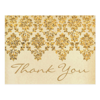 The Vintage Glam Gold Damask Wedding Collection Postcard