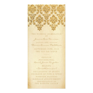 The Vintage Glam Gold Damask Wedding Collection Rack Card