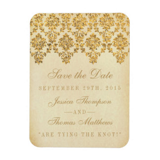 The Vintage Glam Gold Damask Wedding Collection Rectangular Photo Magnet