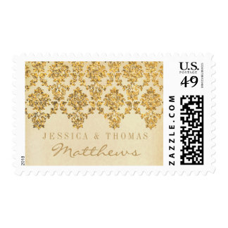 The Vintage Glam Gold Damask Wedding Collection Stamp