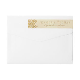 The Vintage Glam Gold Damask Wedding Collection Wrap Around Label