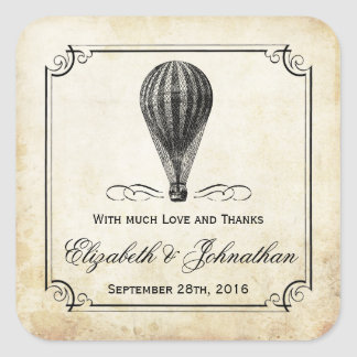 The Vintage Hot Air Balloon Wedding Collection Square Sticker