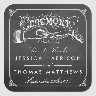 The Vintage Marriage Chalkboard Wedding Collection Square Sticker