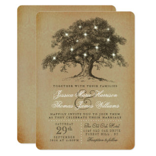 The Vintage Old Oak Tree Wedding Collection Card at Zazzle