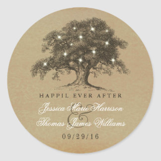 The Vintage Old Oak Tree Wedding Collection Classic Round Sticker