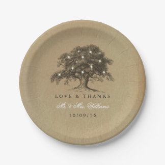The Vintage Old Oak Tree Wedding Collection Paper Plate