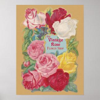 The Vintage Rose Flower Shop Sign Poster