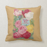 The Vintage Rose Flower Shop Throw Pillow
