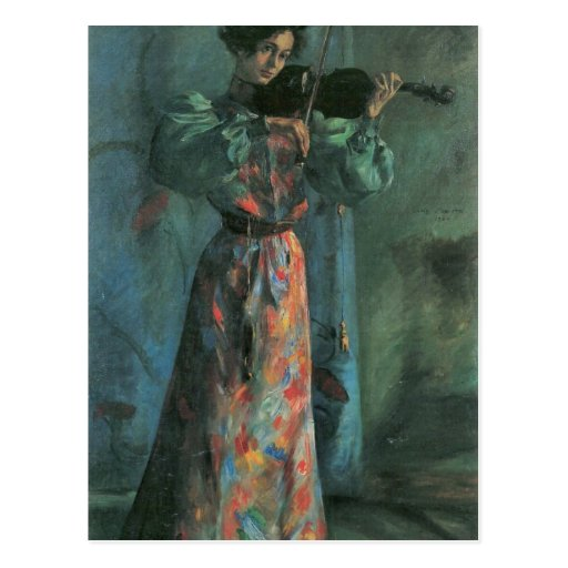The violin player by Lovis Corinth Postcards