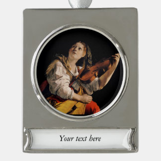 The Violin Player Silver Plated Banner Ornament