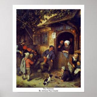 The Violinist. By Adriaen Van Ostade Poster