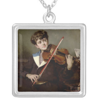The Violinist Silver Plated Necklace