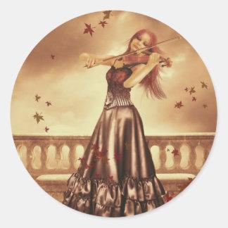 The Violinist (Stickers) Classic Round Sticker
