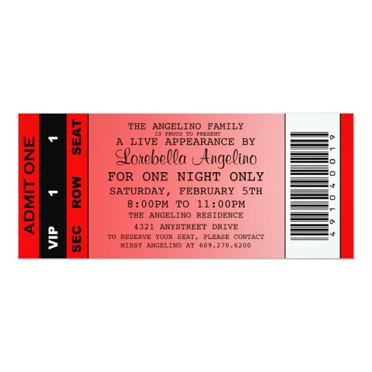 The VIP Ticket Birthday Invitation (Red)