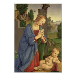 The Virgin Adoring the Child, 1490-1500 Poster