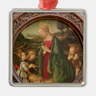 The Virgin Adoring the Christ Child Metal Ornament