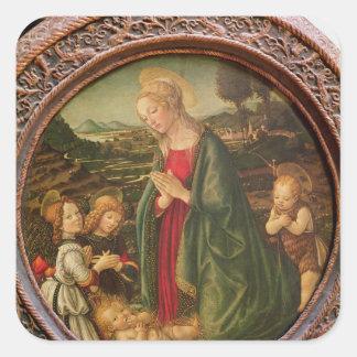 The Virgin Adoring the Christ Child Square Sticker