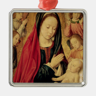 The Virgin and Child Adored by Angels Metal Ornament