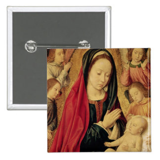 The Virgin and Child Adored by Angels Pinback Button