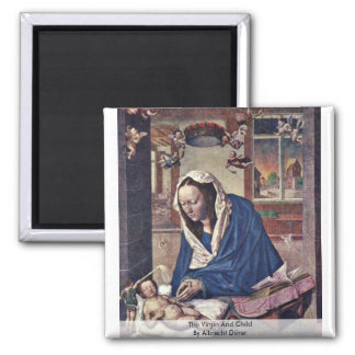The Virgin And Child By Albrecht Dürer 2 Inch Square Magnet