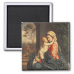 The Virgin and Child Embracing 2 Inch Square Magnet