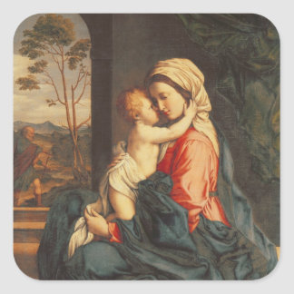The Virgin and Child Embracing Square Stickers