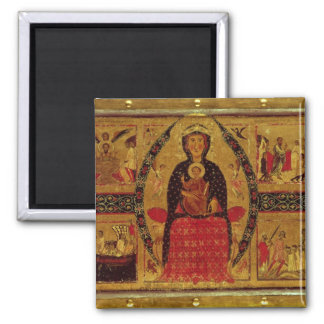 The Virgin and Child Enthroned 2 Inch Square Magnet