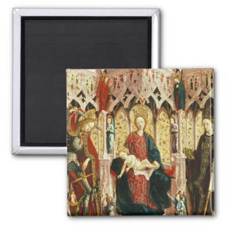 The Virgin and Child Enthroned, c.1475 2 Inch Square Magnet