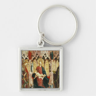 The Virgin and Child Enthroned, c.1475 Silver-Colored Square Keychain