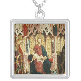 The Virgin and Child Enthroned, c.1475 Square Pendant Necklace