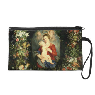 The Virgin and child in a garland of fruit and flo Wristlet Clutches